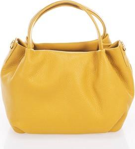 Żółta torebka Anna Morellini średnia ze skóry