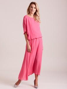 Różowa sukienka Sheandher.pl z długim rękawem maxi