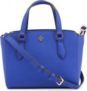 Niebieska torebka Tory Burch na ramię duża