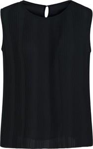 Czarna bluzka Lavard bez rękawów z okrągłym dekoltem