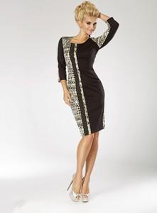 Czarna sukienka Marselini z długim rękawem midi