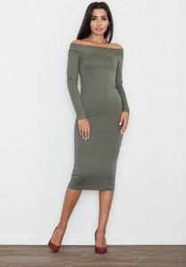 Sukienka Figl dopasowana z długim rękawem midi