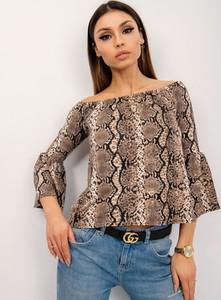 Brązowa bluzka Sheandher.pl w stylu casual z długim rękawem
