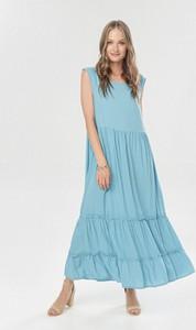 Niebieska sukienka born2be z okrągłym dekoltem maxi