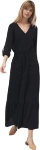 Czarna sukienka Nife z długim rękawem z dekoltem w kształcie litery v