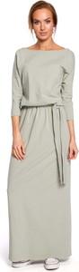 Sukienka MOE z bawełny z okrągłym dekoltem maxi