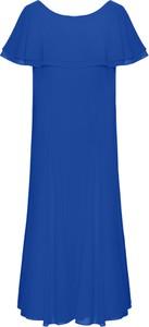 Niebieska sukienka Poza z okrągłym dekoltem maxi