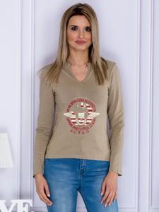 Bluzka Sheandher.pl z długim rękawem w militarnym stylu z dekoltem w kształcie litery v