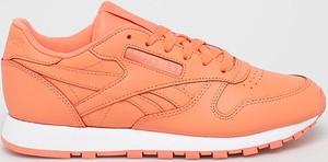 Pomarańczowe buty sportowe Reebok Classic ze skóry sznurowane