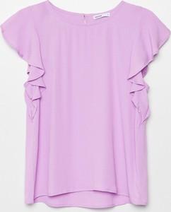 Fioletowa bluzka Cropp z krótkim rękawem