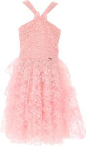 Różowa sukienka dziewczęca Dsquared2 z jedwabiu