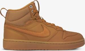Brązowe buty zimowe Nike ze skóry w sportowym stylu sznurowane