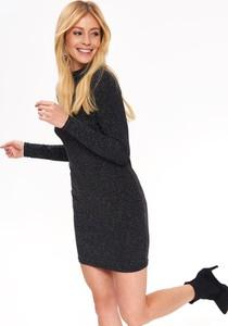 Czarna sukienka Top Secret z golfem z odkrytymi ramionami w stylu casual
