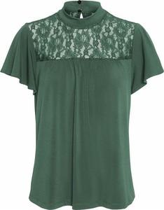 Zielona bluzka Vero Moda z krótkim rękawem z okrągłym dekoltem