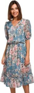 Niebieska sukienka Style midi z dekoltem w kształcie litery v z tkaniny