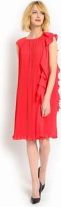 Czerwona sukienka POTIS & VERSO z okrągłym dekoltem