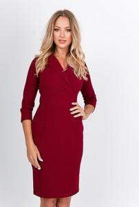 Czerwona sukienka Zoio z długim rękawem mini z dekoltem w kształcie litery v