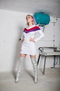 Sukienka REST_FActory z długim rękawem z kołnierzykiem