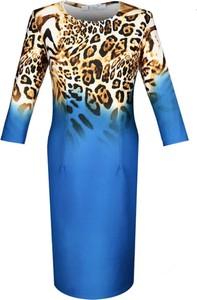 Sukienka Fokus dopasowana midi z długim rękawem