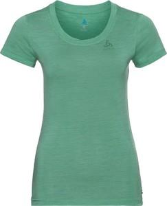 T-shirt ODLO z okrągłym dekoltem z wełny z krótkim rękawem