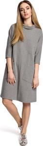 Sukienka MOE z długim rękawem midi z bawełny