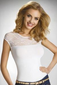Eldar elegancka damska bluzka z krótkimi rękawami i koronką paulina biały