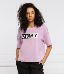 Różowa bluzka DKNY z okrągłym dekoltem z krótkim rękawem