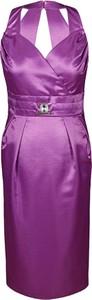 Fioletowa sukienka Fokus z dekoltem w kształcie litery v ołówkowa