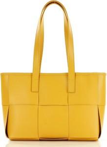 Żółta torebka GENUINE LEATHER ze skóry na ramię