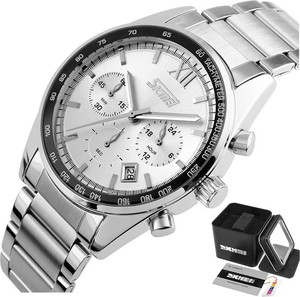 Zegarek męski SKMEI 9096 CHRONOGRAF srebrny DATA