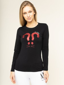 Czarna bluzka Armani Exchange z długim rękawem z okrągłym dekoltem