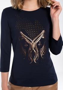 Granatowa bluzka POTIS & VERSO z dresówki z długim rękawem z okrągłym dekoltem