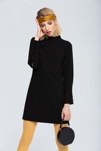 Czarna sukienka Zoee z wełny z długim rękawem
