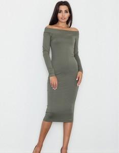 Zielona sukienka Figl z długim rękawem midi