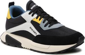 Buty sportowe Diesel sznurowane w sportowym stylu ze skóry