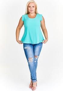 Niebieska bluzka Fokus w stylu casual z okrągłym dekoltem