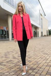 Różowa kurtka Mattire w stylu casual z wełny