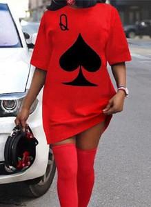 Czerwona sukienka Arilook mini z dresówki z okrągłym dekoltem