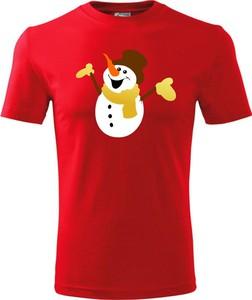 Czerwony t-shirt TopKoszulki.pl z krótkim rękawem