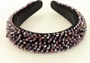 Gk-Style Efektowna ozdoba opaska na włosy wysadzana kamieniami na welurze lekki diadem fioletowy MAZZINI