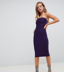 Fioletowa sukienka Missguided bez rękawów bandażowa midi