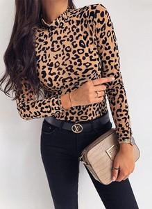 Brązowa bluzka Sandbella z okrągłym dekoltem z długim rękawem w stylu casual