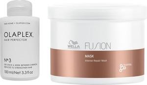 Olaplex Hair Perfector No.3 and Fusion Intense Repair Mask | Zestaw regenerujący włosy: kuracja 100ml + maska 500ml - Wysyłka w 24H!