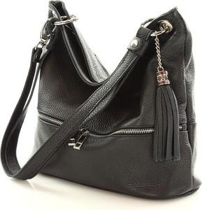 Czarna torebka mazzini w stylu casual ze skóry