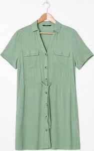 Zielona sukienka House z dekoltem w kształcie litery v koszulowa z krótkim rękawem