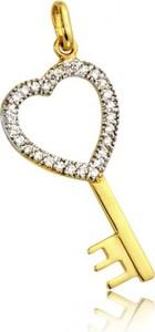 Hosa Złota zawieszka klucz serce z cyrkoniami (łączone złoto)