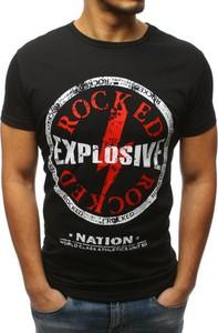Czarny t-shirt Dstreet w młodzieżowym stylu z krótkim rękawem z bawełny