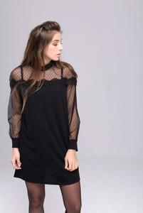Czarna sukienka Butik Ecru z długim rękawem mini