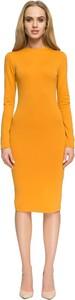 Żółta sukienka Style z okrągłym dekoltem