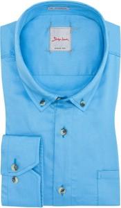 Niebieska koszula Signum z bawełny w sportowym stylu z długim rękawem